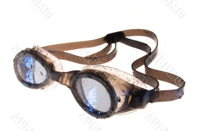 swimming goggles on white background