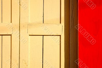 red wall yellow door