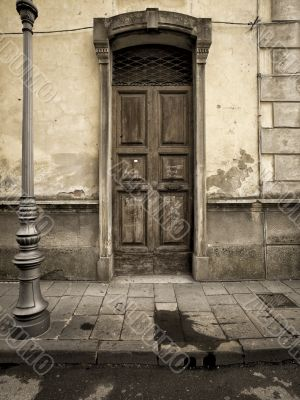 vintage door in the tuscany region of italy