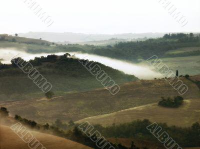 Banks of fog over Tuscany