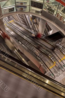 view of escalators at shopping mall