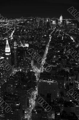 black and white city landscape