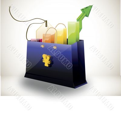 shopping bag with colorful bar graph arrow and tag