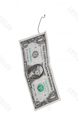 dollar on the fish hook