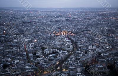 Paris shot from the Eiffel Tower pre dusk
