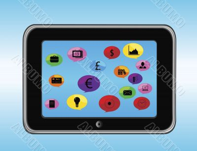 illustration of a tablet with business icons