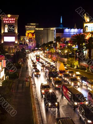 view of a city road at night