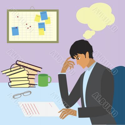 thoughtful businessman with paperwork at office