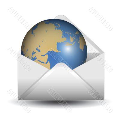 globe inside the mail envelope