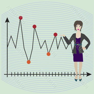business female showing line graph