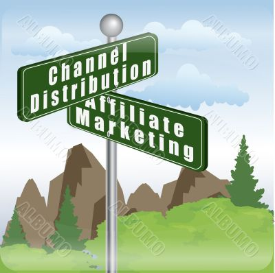 marketing sign of channel distribution and affiliate marketing