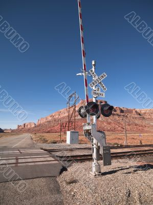 railroad and road sign in red canyon