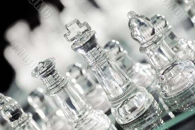 transparent glass chess piece