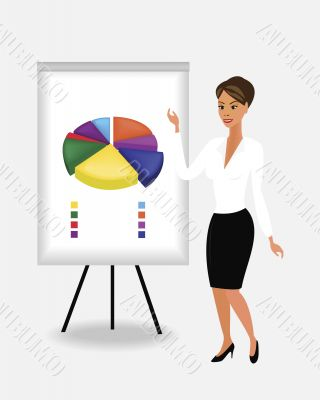 female giving presentation