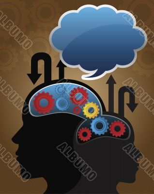 silhouette image of business people mind with cloud on the top