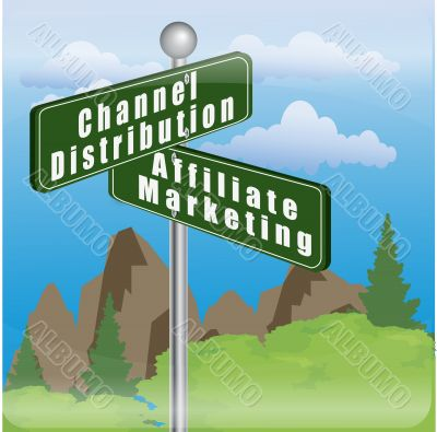 signboard with channel distribution and affiliate marketing