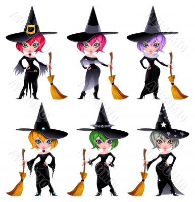 Set of funny witches.