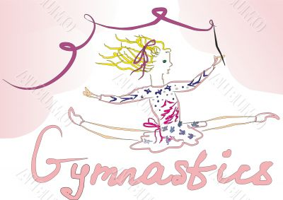 Artistic gymnastics. A girl with a ribbon in the splits.