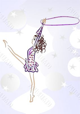 Artistic gymnastics. Gymnast standing on his toes. Exercise with a hoop.