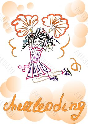 Cheerleading. Girl with pompoms.