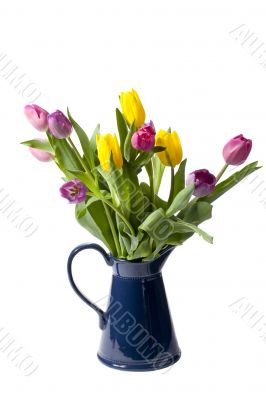 pink and yellow flowers in vase
