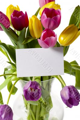 tulips with card in a vase