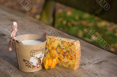 Alpine breakfast outdoors.