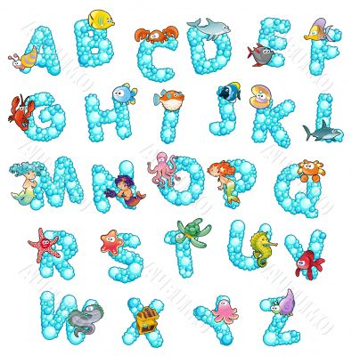 Alphabet with fish and bubbles.