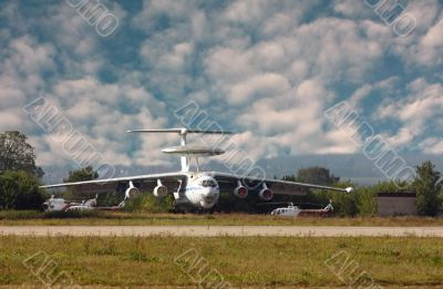"Russian military aircraft ""A-50 "" parked at the airbase"