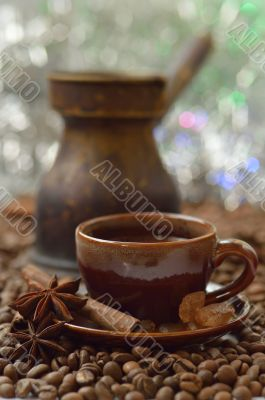 Cinnamon, anise and coffee beans