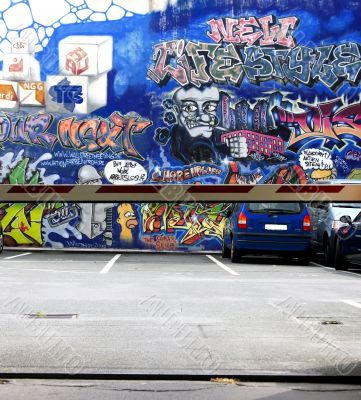 parking bay with graffiti