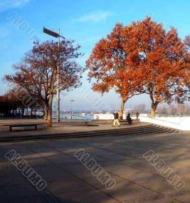 Rhine shore promenade Mainz