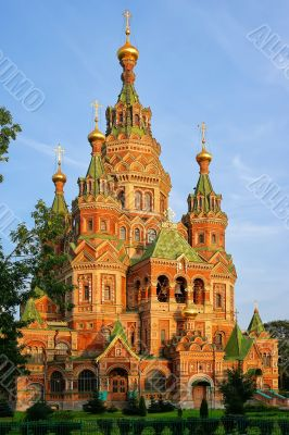 St. Peter and Paul`s cathedral in Peterhof, Russia