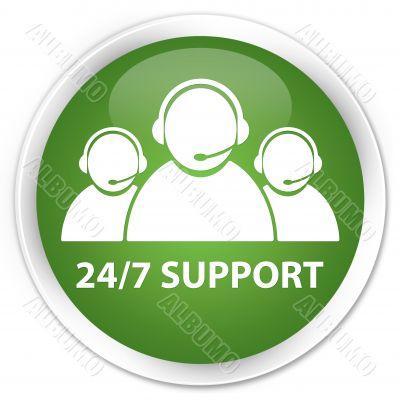 24/7 support team green button