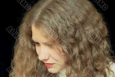 Young woman with long brown nature hair