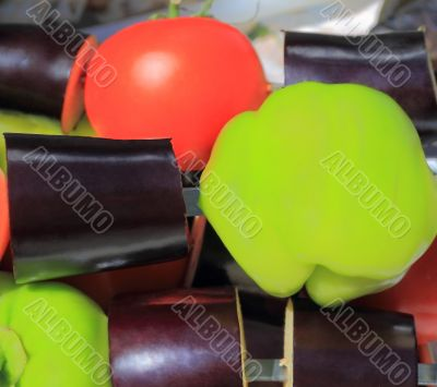 Red green and violet raw vegetable
