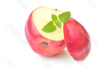Pink apple with mint leaf