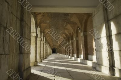 Ancient exterior hallway of Royal Palace in Aranjuez