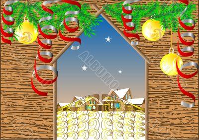 Gate in winter village. Christmas background