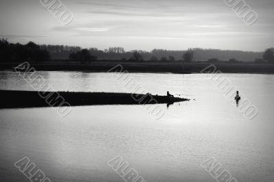 Angler on the breakwater