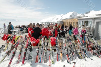 Skiers at mountain top