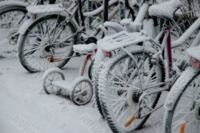 Bicycles in snow