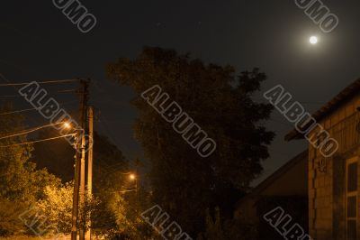 Night Landscape 3. The moon and the street lamps.