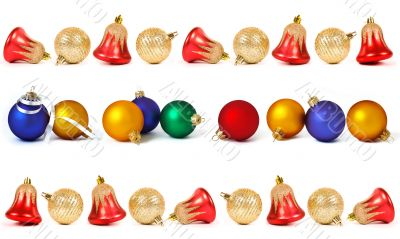 set of christmas spheres and bells