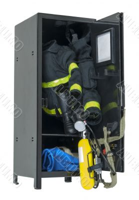 Fireman Gear in a Locker
