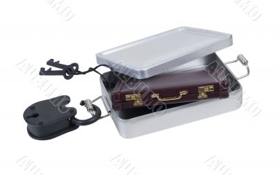 Briefcase in a Tin Locker with Padlock and Keys