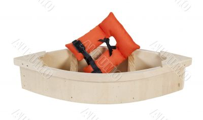 Life Vest in Wooden Boat