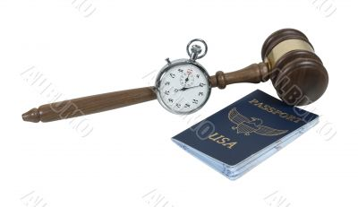 Gavel with Stopwatch and Passport