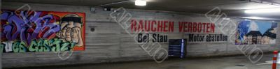 Underground parking with graffiti