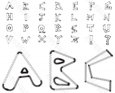 Electric zig zag alphabet - white